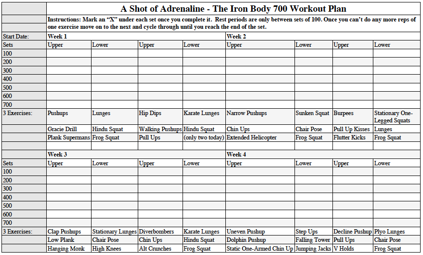 The 700 Rep Iron Body Workout Plan – Workout Worksheet