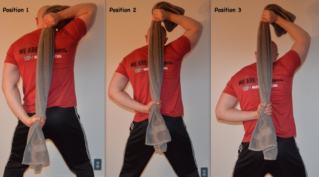 Behind Neck Shoulder Pull Down towel isometrics