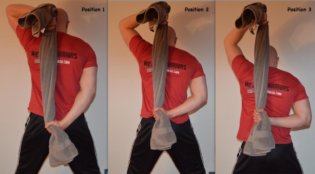 Behind Neck Shoulder Pull Down towel isometrics