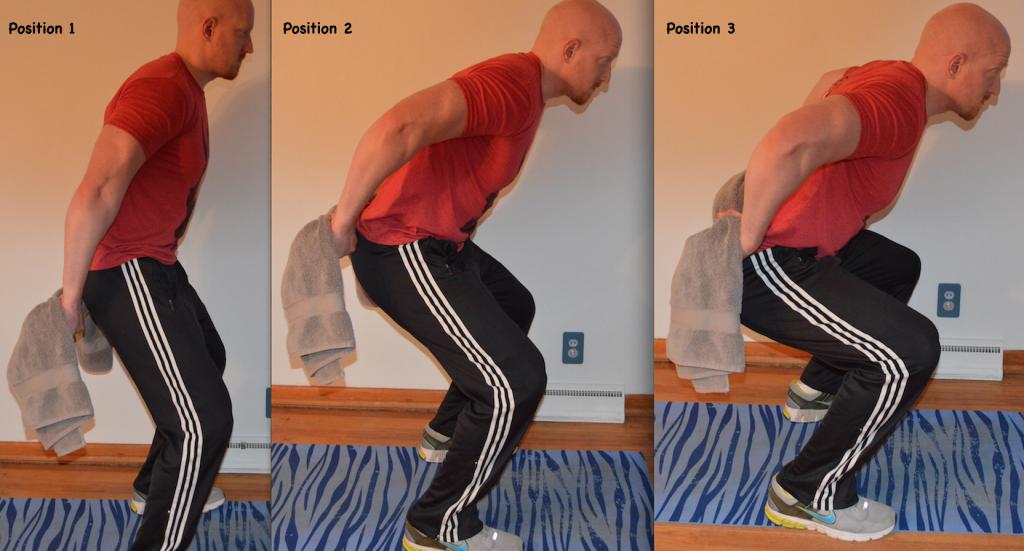 Behind back Arm Lift and Leg Squat towel isometrics