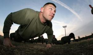 marine doing push ups