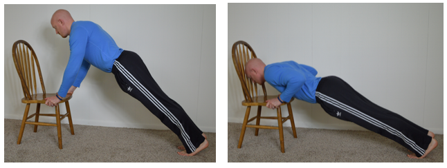 Placing your hands on a chair or elevated surface will shift the focus to the lower portion of your chest.