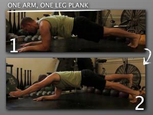 One Arm One Leg Plank progression