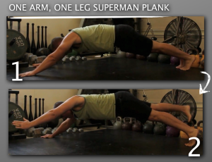 One Arm One Leg Superman Plank