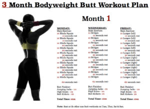 butt workout plan  month 1  body weight and calisthenics