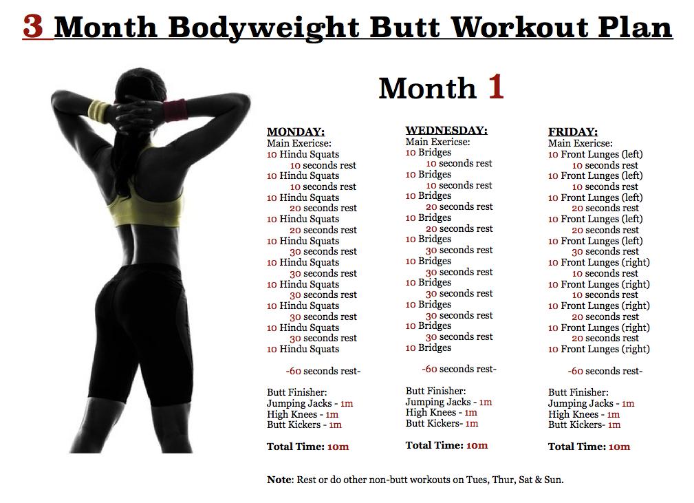 butt workout plan - month 1