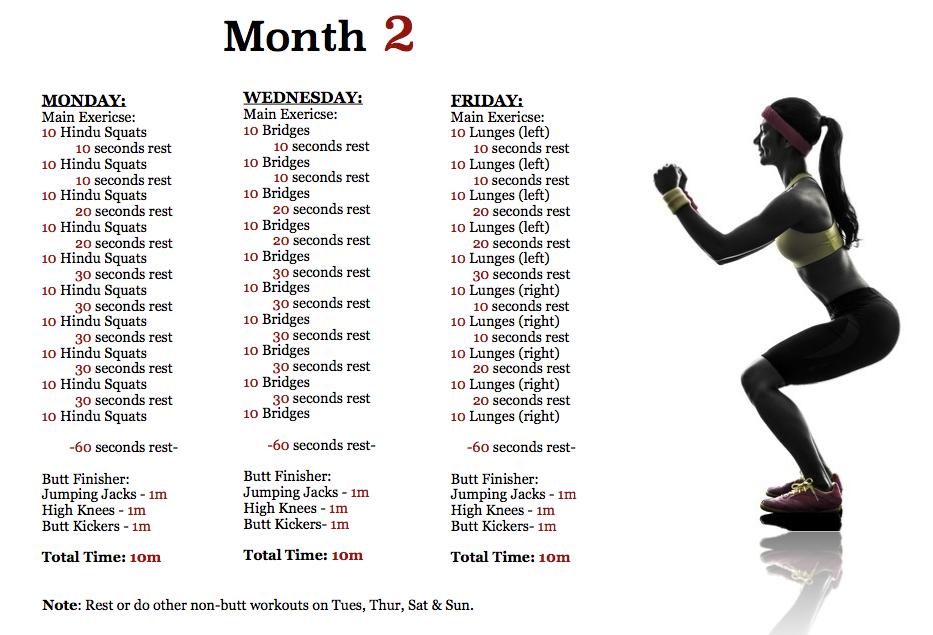 butt workout plan – month 2
