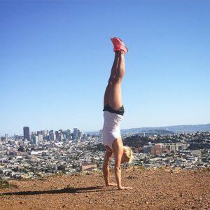 Krista Stryker doing a handstand