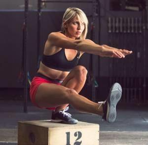 Krista Stryker doing a pistol squat