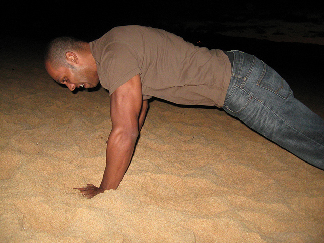 pushup at the beach