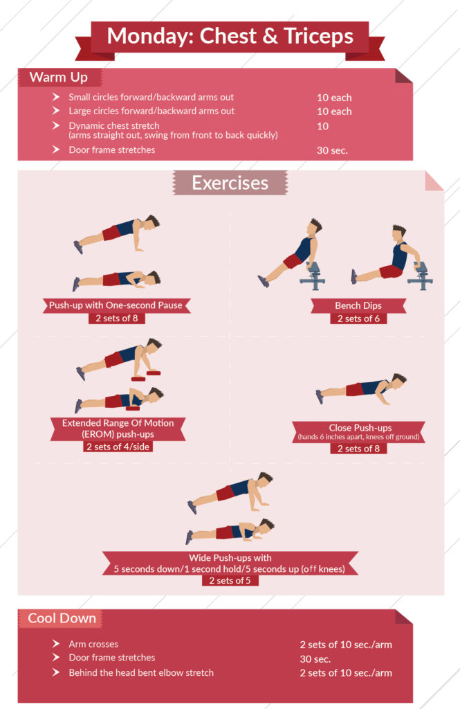 Calisthenics For Beginners level 3 chest and triceps infographic